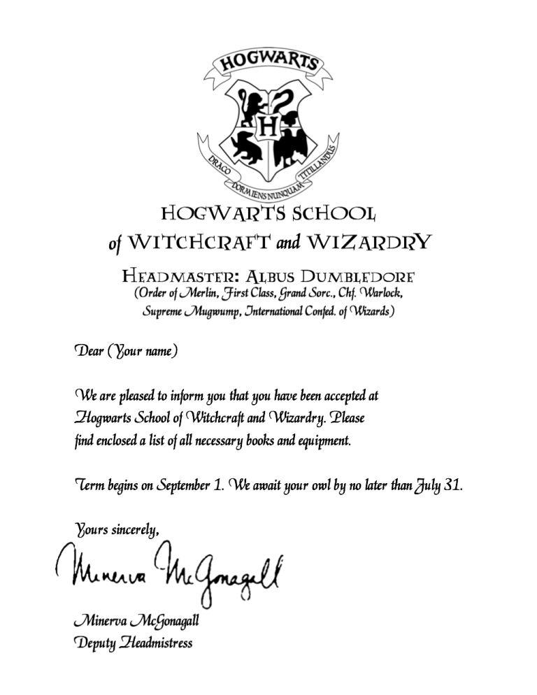 Hogwarts Acceptance Letter Printable Harry Potter Acceptance Letter Hogwarts Acceptance Letter Hogwarts Acceptance Letter Template
