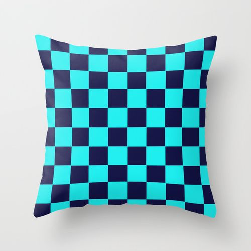 Checkers Navy Turquoise Throw Pillow by Beautiful Homes