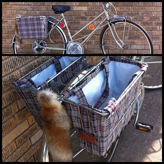 Bike Basket Shopping Bag Tote Liners Navy Red Bike Panniers