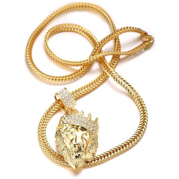 Halukakah Kings Landing Men S 18k Real Gold Plated Crown Lion 11 Liked On Polyvore Featur Mens Necklace Pendant Mens Chain Necklace 18k Gold Necklace
