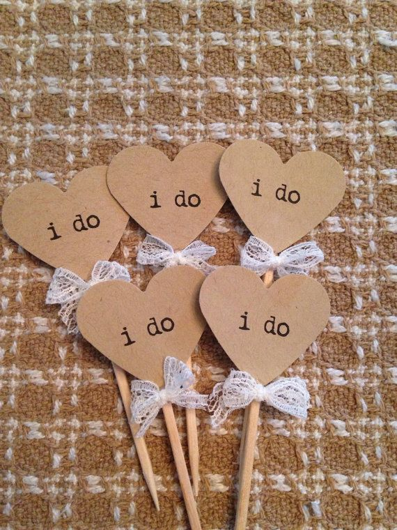 Heart I Do Cupcake Toppers | 12 | Rustic Wedding Decor | Engagement Party | Bridal Shower | I Do Party Picks | I Do Cupcake Toppers