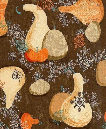 1YD Rustic GATHERINGS PUMPKIN GOURD BROWN Thanksgiving Autumn Newcastle Fabric #NewcastleFabrics