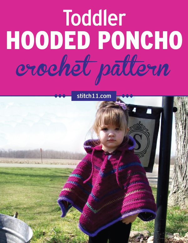 This Toddler Hooded Poncho crochet pattern is worked in 3 pieces - hood, neck, and poncho. It is crocheted both in the round and by rows. You can choose whatever color, with or without the highlights. Perfect for any toddler, to keep them warm in cold months as they walk around outside. #crochetponchokids