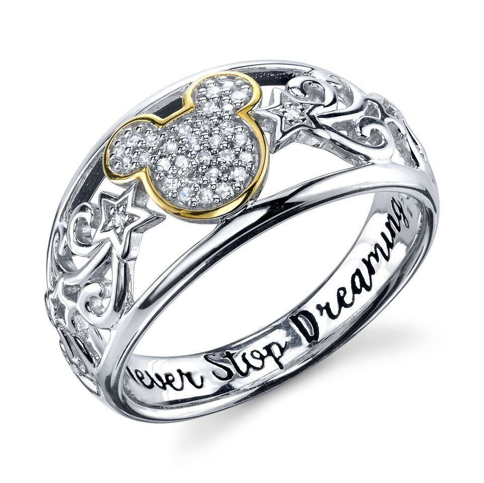 Sterling Silver Real Diamond Disney Mickey Mouse Ring 'never Stop Dreaming'  6 #disney
