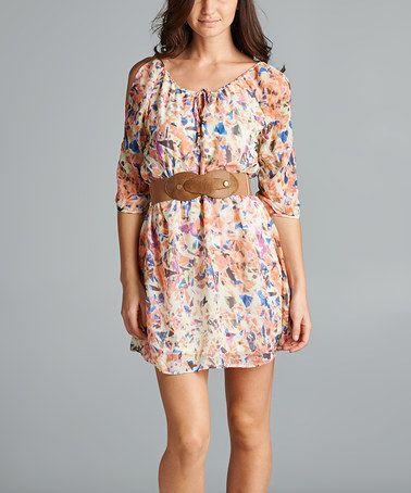 Another great find on #zulily! Peach Abstract Scoop Neck Dress & Belt #zulilyfinds