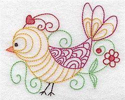 Bird Flower Outline Embroidery Design Birds To Machine Embroider