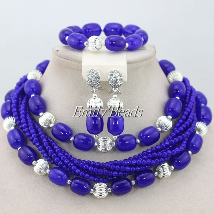 Silver Royal Blue Artificial Coral Beads 2015 New Design Nigerian ...