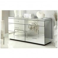 Rio Mirrored Dressing Table 6 Drawer Dresser Chest Mirror Furniture