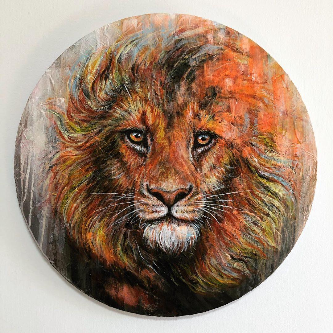 "Yaroslavna Shai    Neli on Instagram: ""Lion. 50/50cm. #neli_shai4 #yaroslavna_art #mixedmediaartist #acryliconcanvas #animalart #lionart #art_seeking #instaartwork #animalartwork…"""