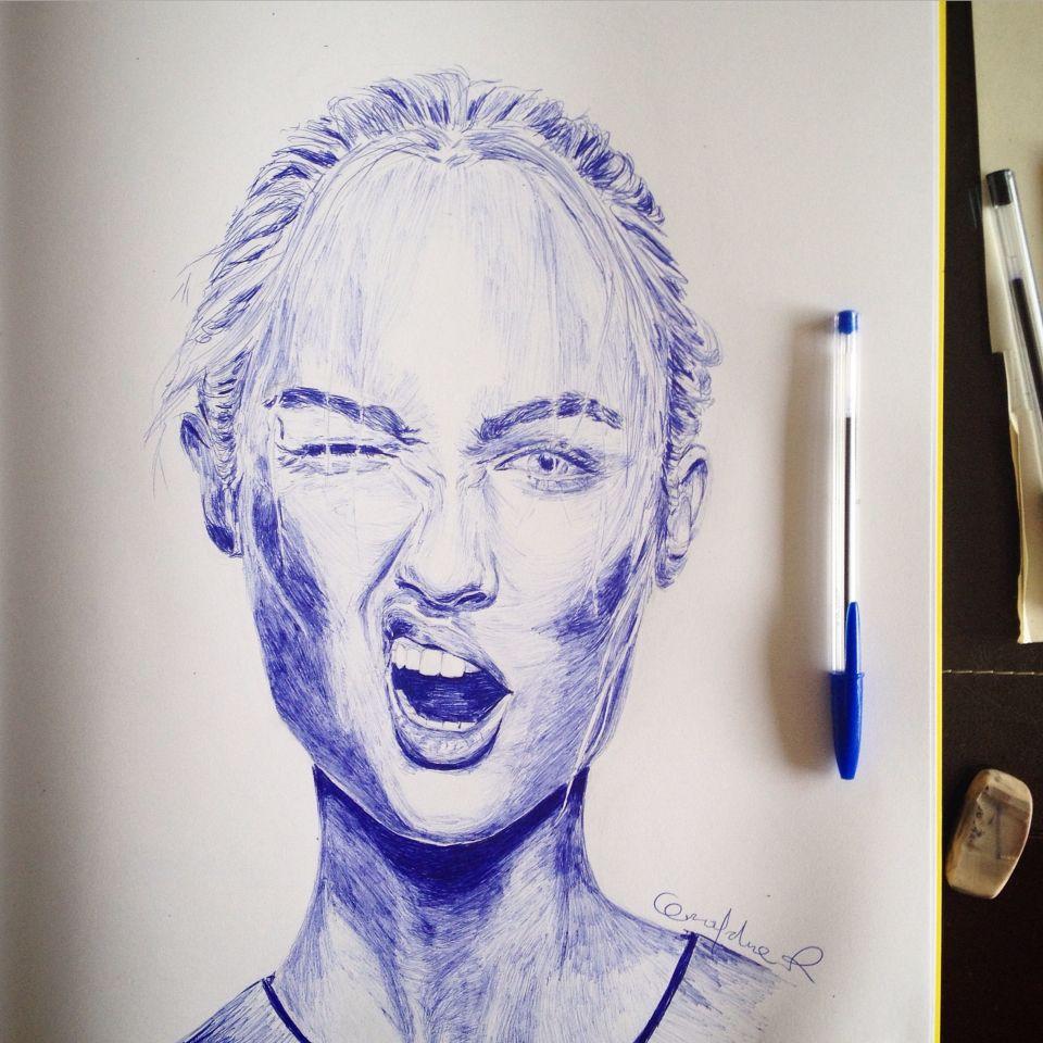Geraldine Ramírez drawing. Bic pen draw. Illustration. Art. 2015. Moods. Candice.