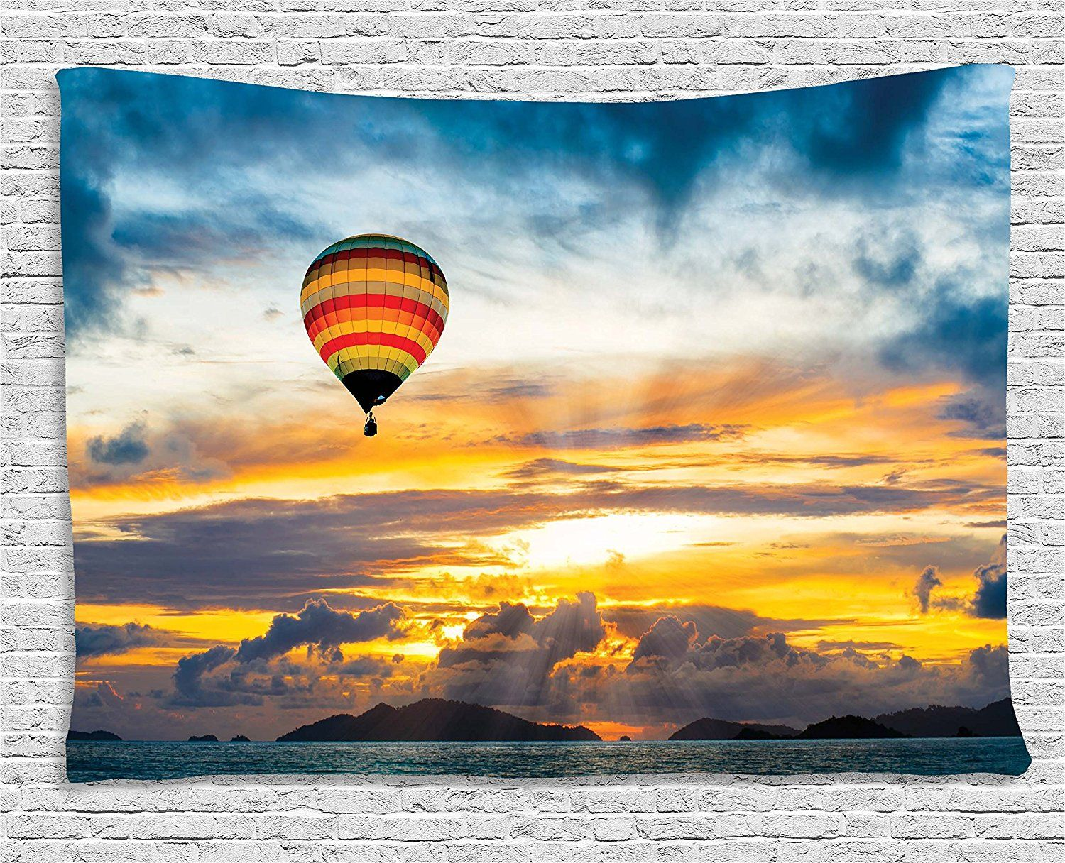 Skyline Decor Tapestry by Ambesonne, Hot Air Balloon in Dusk Air ...