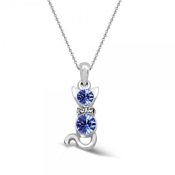 Özel Alaşım Kolye - Mavi taşlı kedi kolye modeli