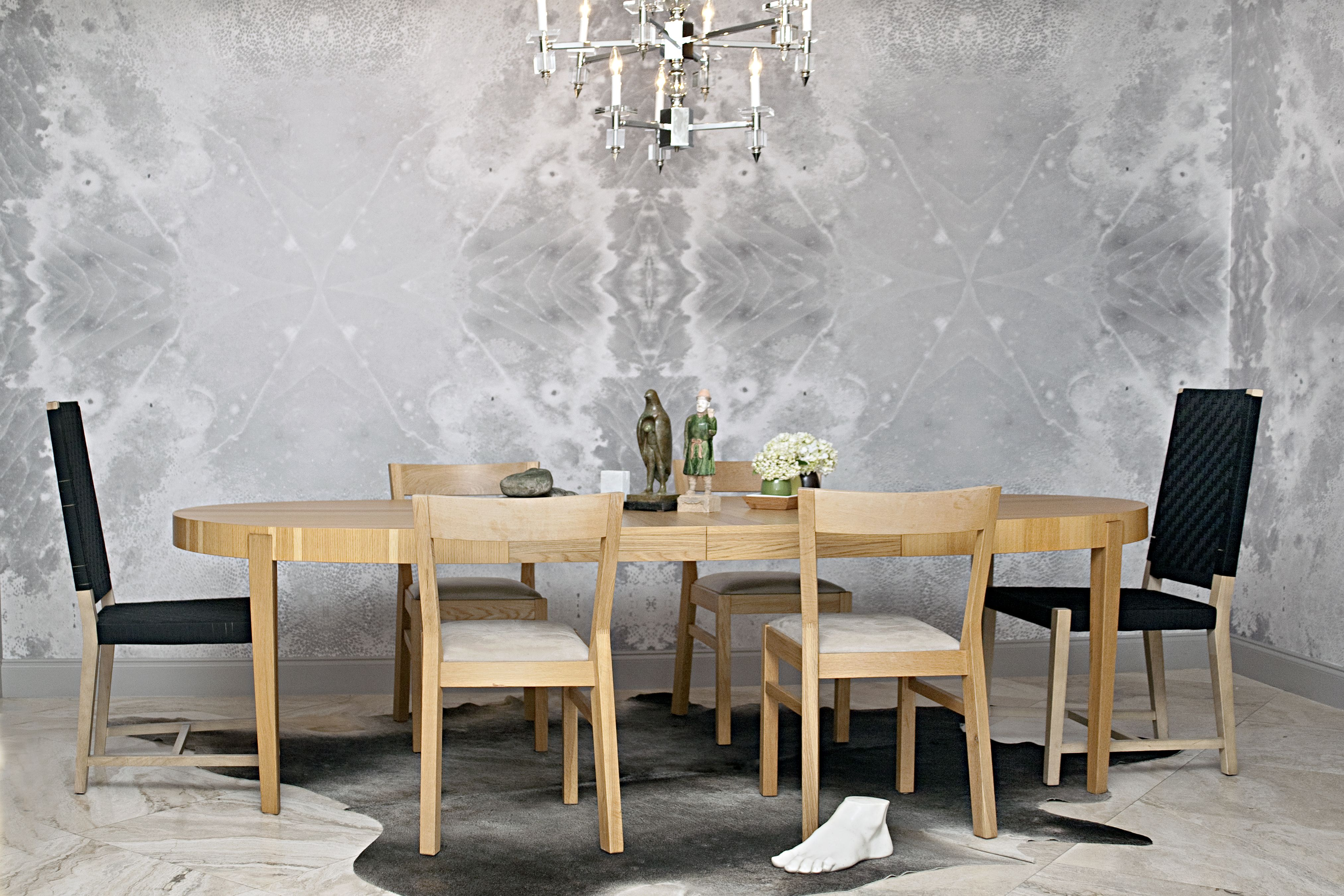 Residential Dining Room Wallcovering Installation. Serpent Shell Pattern in Grey. Extra Large Repeat