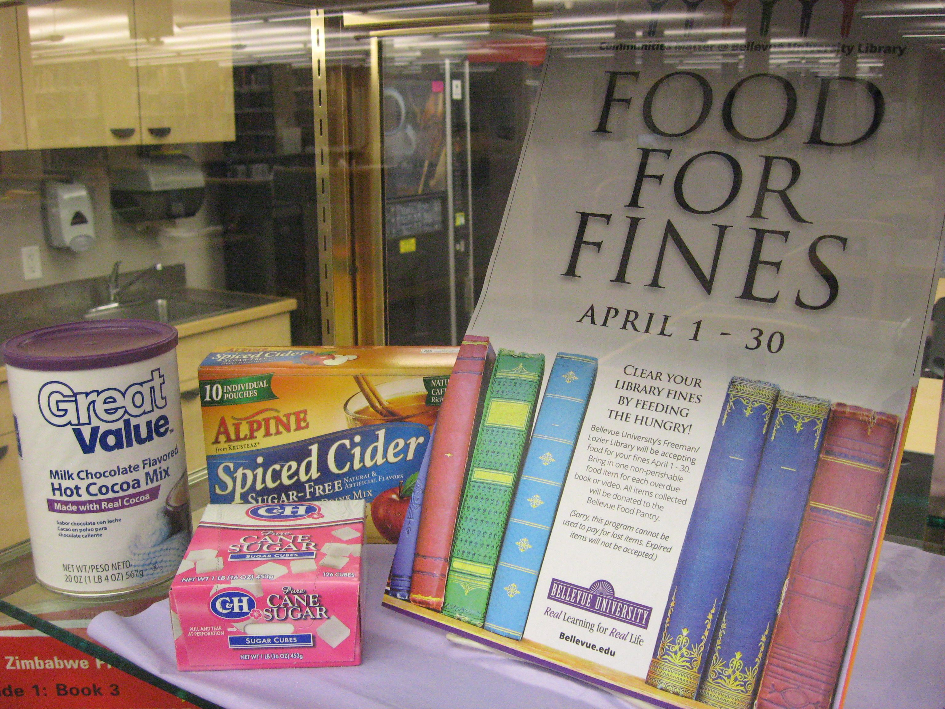 April 2013 Display Case  National Library Week  Food For Fines