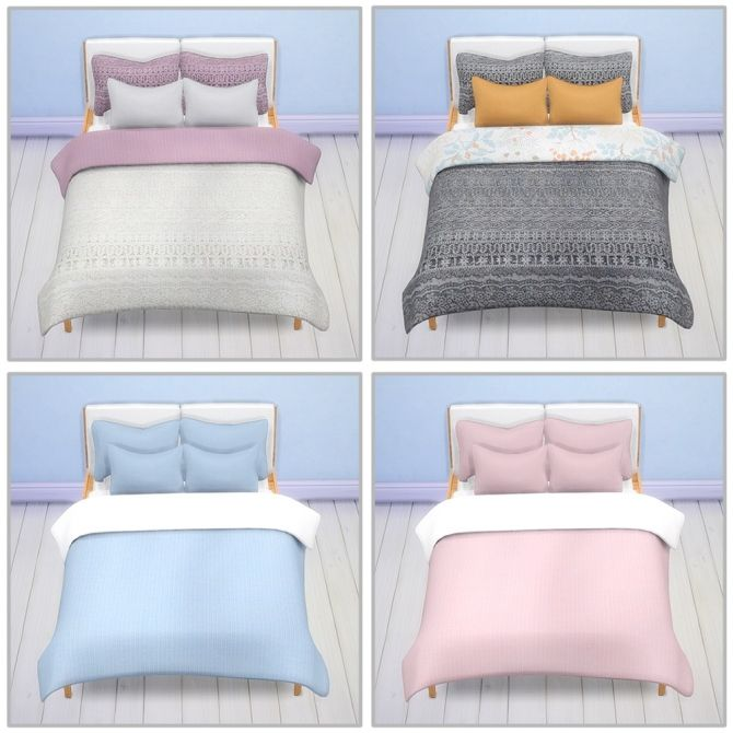 Stockholm Bed Pillow And Blanket Recolors At Saudade Sims