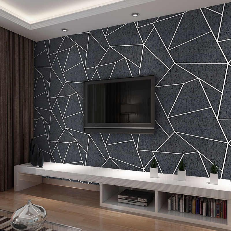 Modern 3D Stereo Black Geometric Wallpaper Fashion Thickened Flocking No-Woven Wall Paper Roll For Living Room TV 3D Home Decor