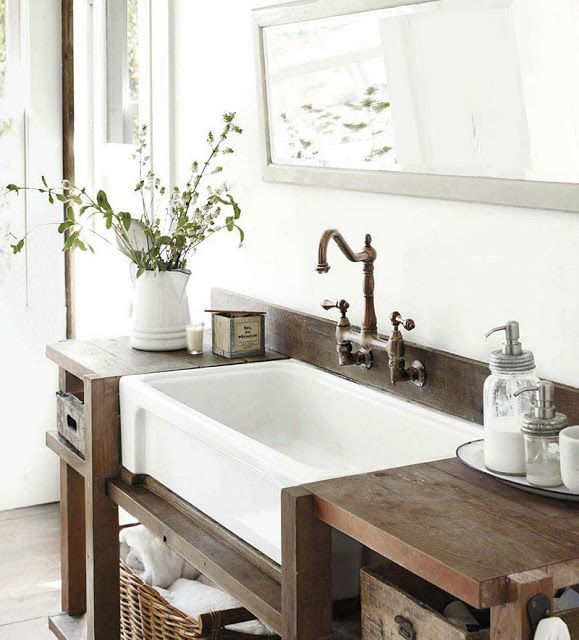 Large bathroom sink long mirror i think the sink would - Farmhouse style bathroom mirrors ...