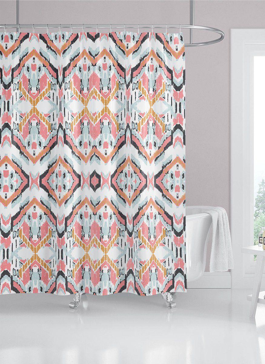 navy blue pink ikat fabric shower