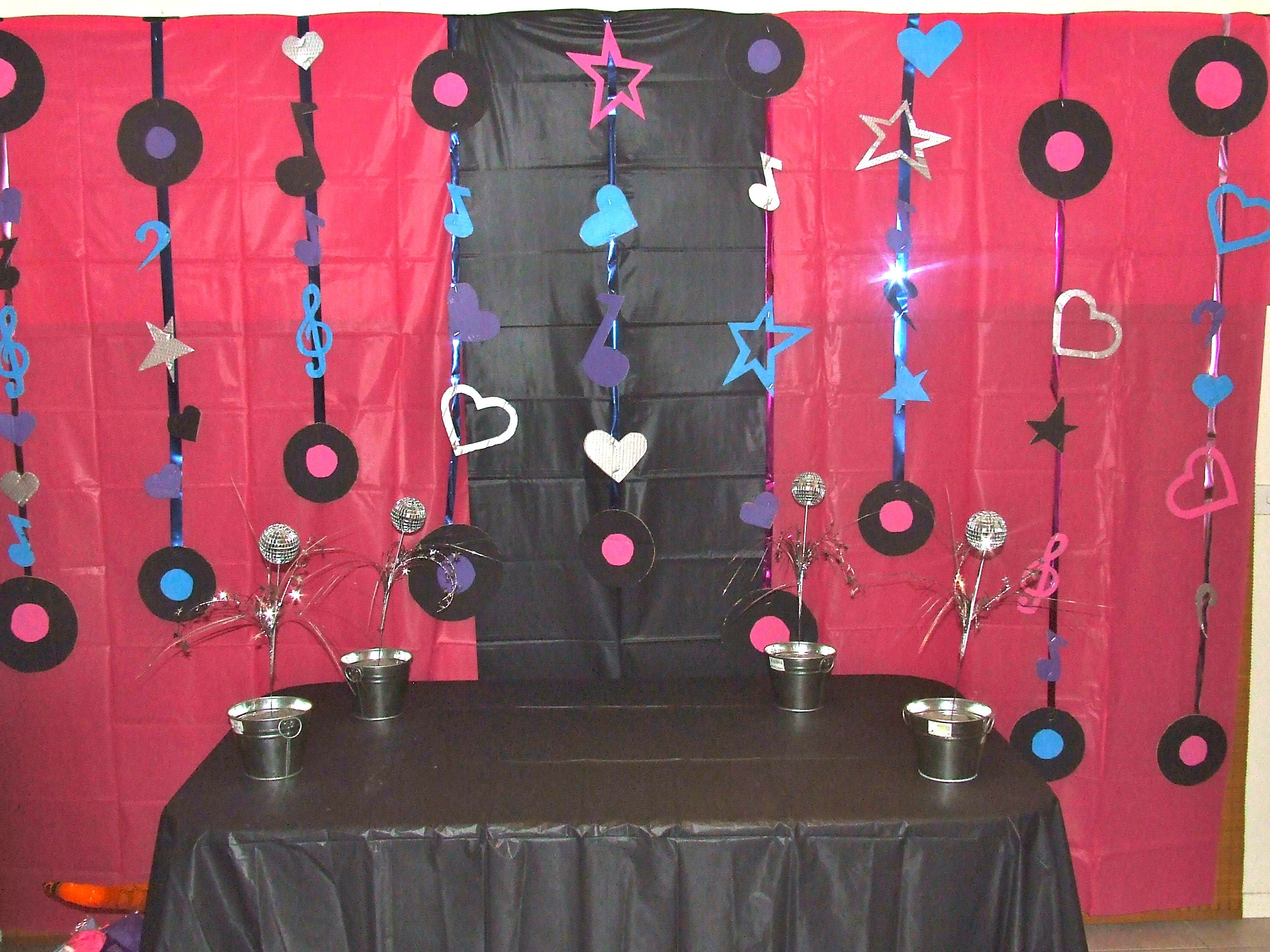 POP STAR PARTY - Decorations; Hot pink and black plastic table cloths hung around the room and covering tables. Assorted painted musical shapes hung on ... & POP STAR PARTY - Decorations; Hot pink and black plastic table ...