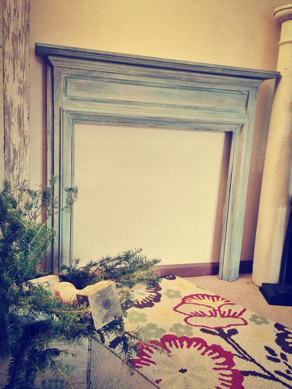 Antique Salvaged Chalk Paint Fireplace Mantle by girlUPcycled, $225.00