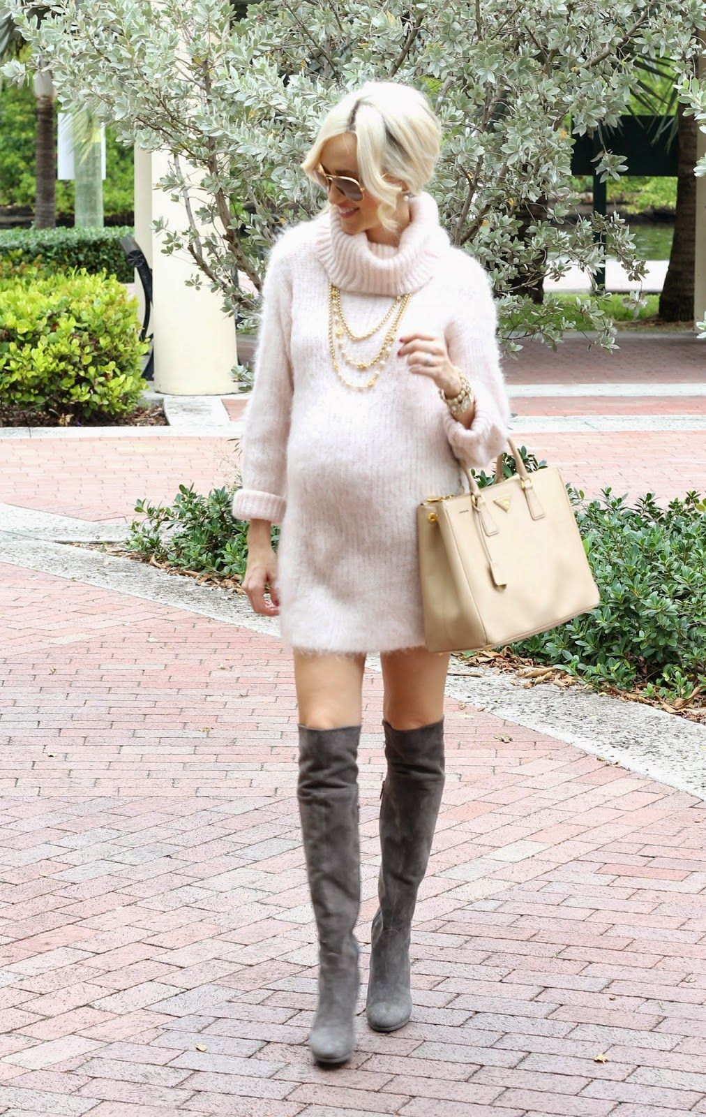 Fuzzy Sweater Dress with Boots