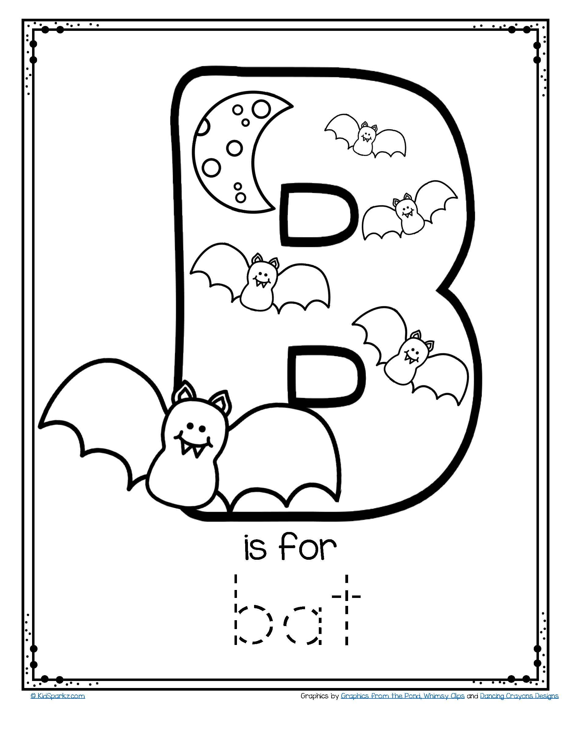 Free Alphabet Tracing And Coloring Printable B Is For Bat