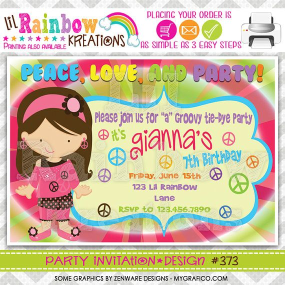 373 DIY Peace Love And Party 2 Invitation Or Thank You Card