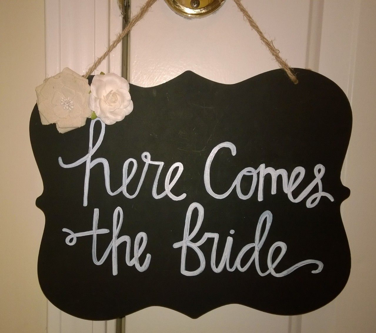 """Here Comes the Bride"" wooden sign from Something Sweet Vintage Boutique in Kansas City. www.Facebook.com/somethingsweetkc"