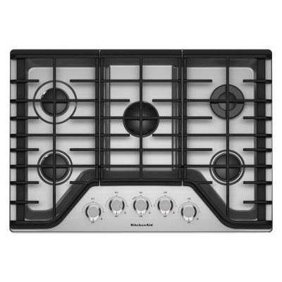 Kitchenaid 36 In Gas Cooktop In Stainless Steel With 5 Burners Including A Multi Flame Dual Tier Burner And A Simmer Burner Kcgs356ess The Home Depot Kitchen Aid Gas Cooktop Cooktop