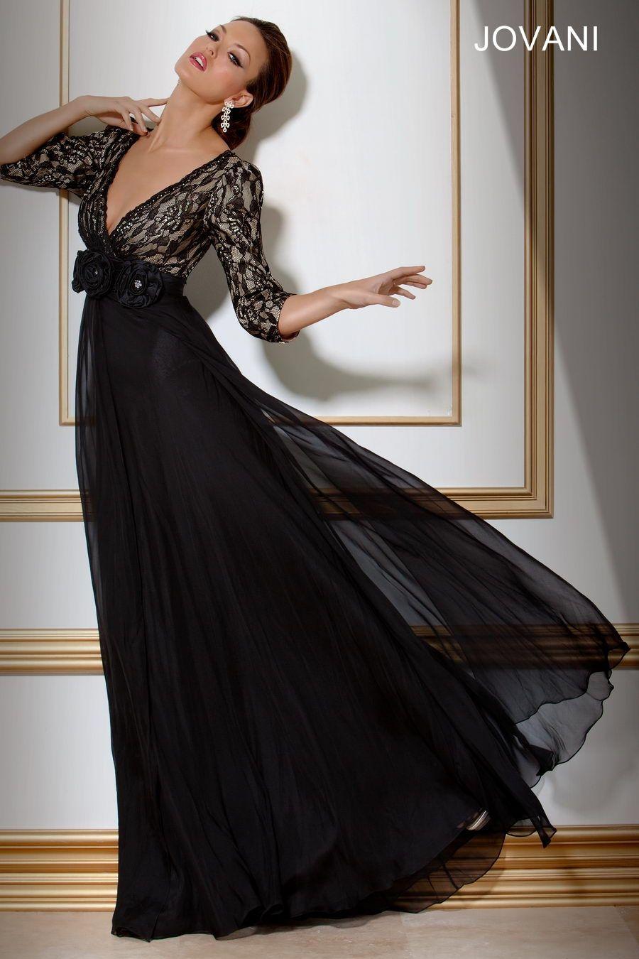 Three quarter length sleeve womenus evening dress style