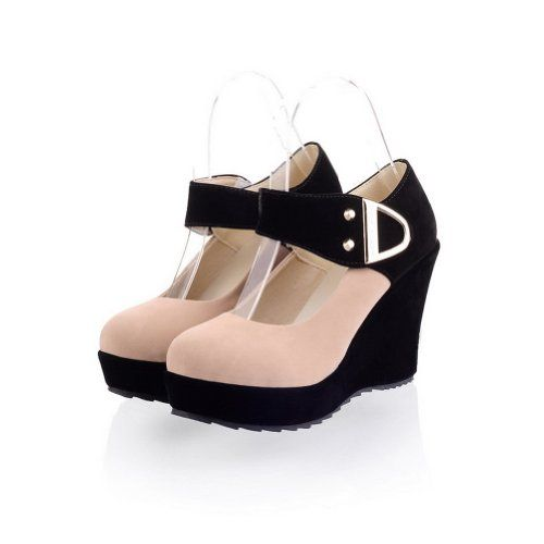 Vouge009 Womens Closed Round Toe High Heel Wedge Platform Frosted PU Pumps whith Assorted Colors and Metalornament