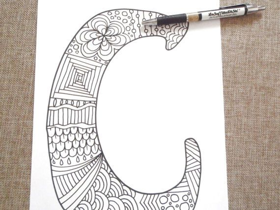 c letter colouring alphabet kids adult coloring di LaSoffittaDiSte