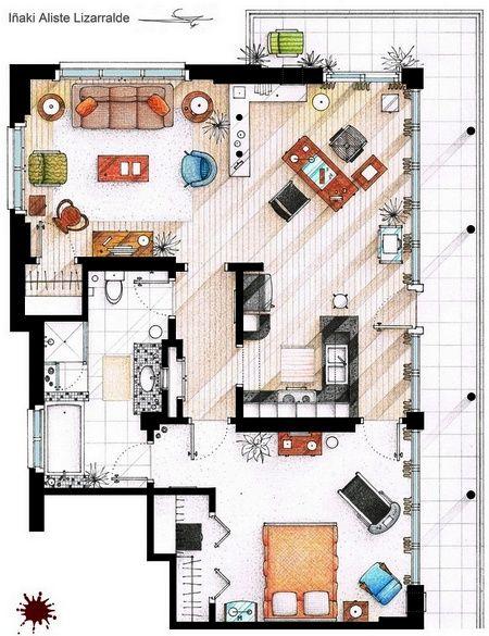 Dexter 39 s appartment en 2019 design house design for Ponteggio ceta dwg