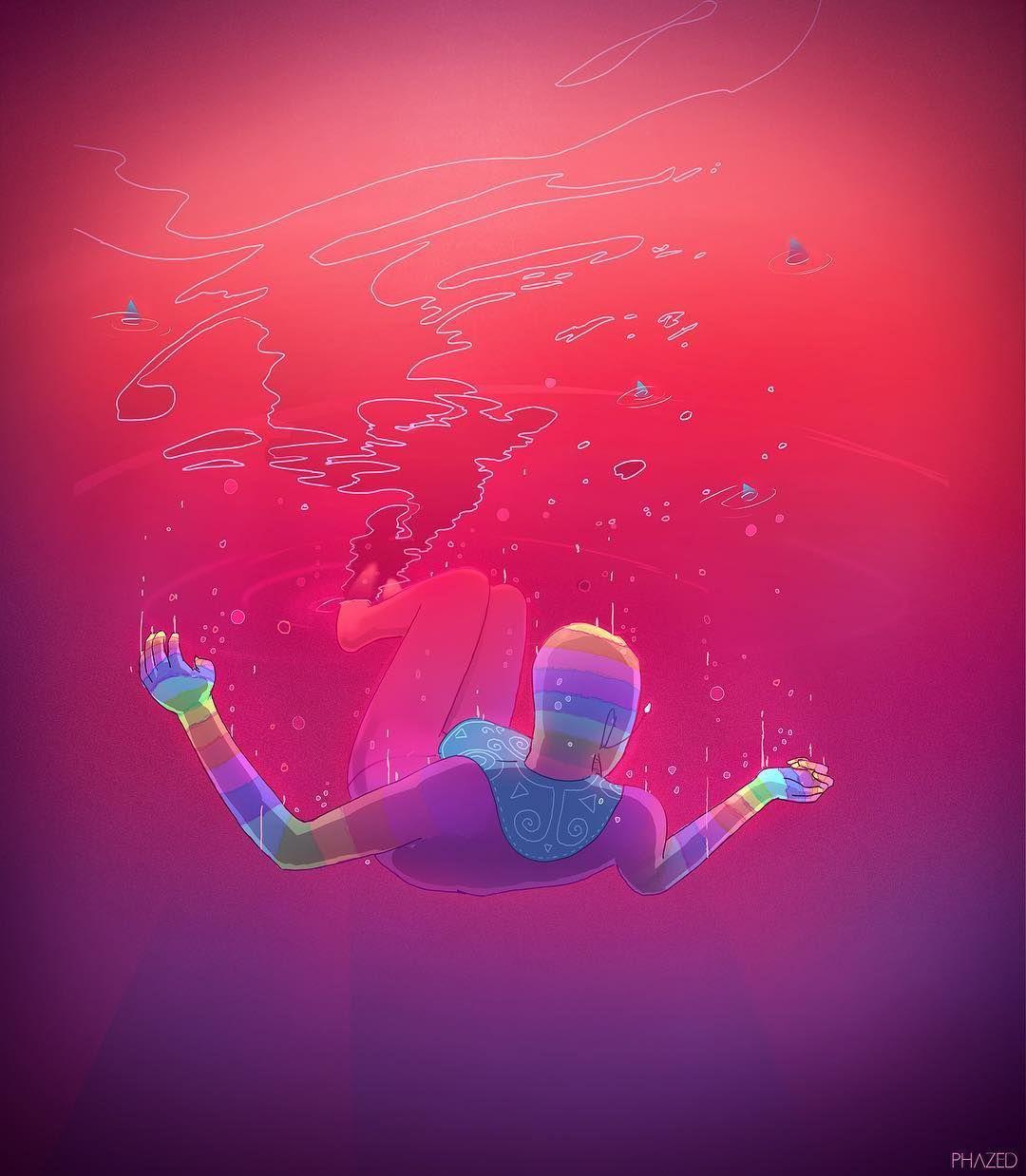 Underwater Aqua Swimming Swim Sink Water Psychedelic