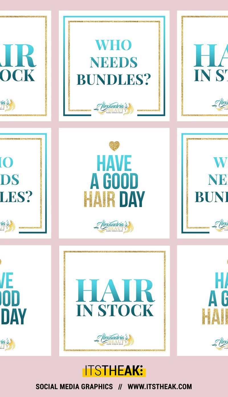 premade social media graphics pack for hair extension businesses