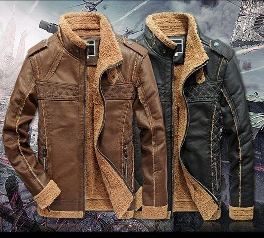 252c520ccba Men s winter thick warm coat jacket windproof high quality PU leather collar  men s padded jacket mixed colors