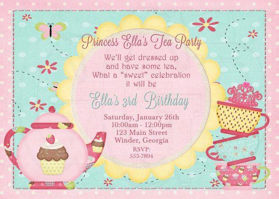 Tea party invitation birthday dress up party digital file tea tea party invitation birthday dress up party digital file stopboris Choice Image