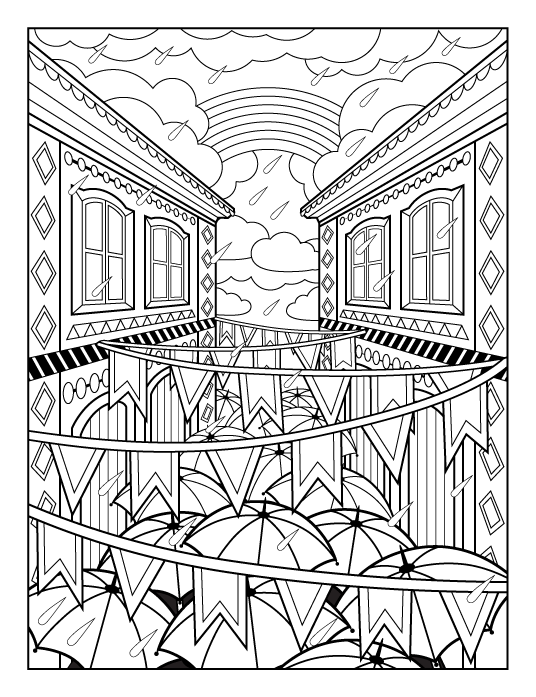 Rainy Day By Joanna Webster From The Amazing Creative Colouring Book Rain Umbrella Rainbow Street Bunting Geometric