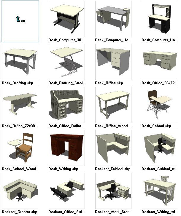 Sketchup Desk 3d Models Download Cad Design Free Cad Blocks