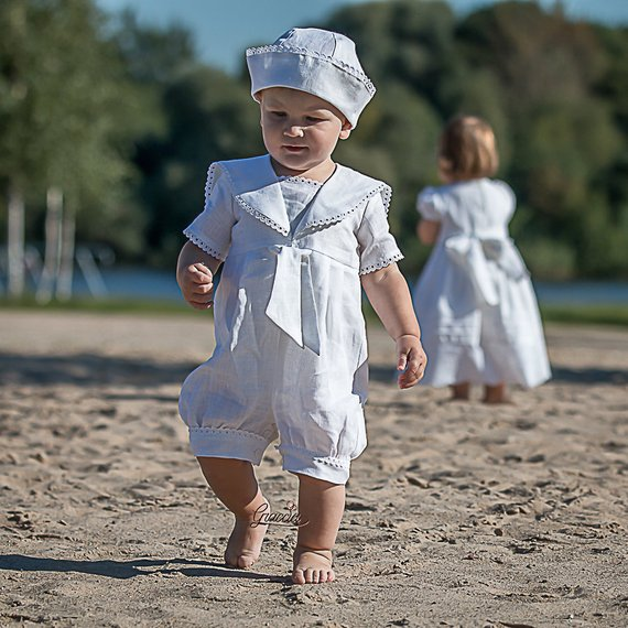 74d853cab Baptism outfit Baby boy sailor rompers Baby boy linen overalls White linen  outfit Christening suit R