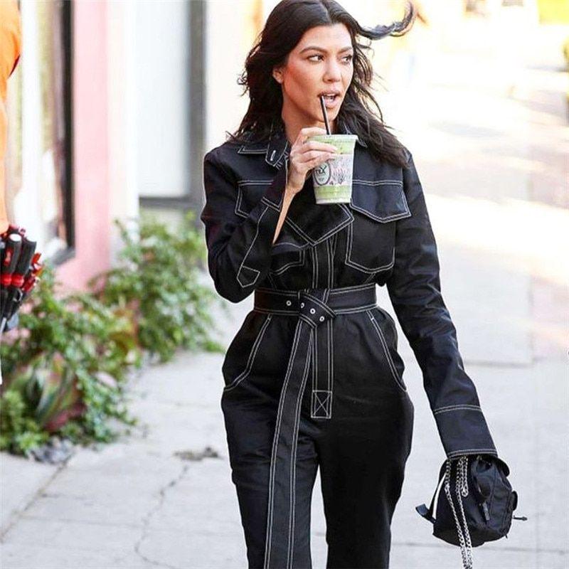 e0cef87b75e Autumn Winter Loose Denim Jumpsuit with Belt Female Streetwear Jeans Cotton  Cargo Straight Playsuit Formal Office Lady Romper  rompers  jumpsuit   playsuit ...