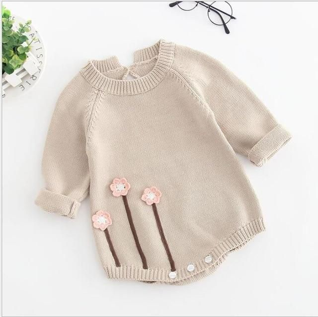 Photo of New Born Baby Clothes Autumn Winter Baby Knitted Romper Embroideried Baby Girl R…