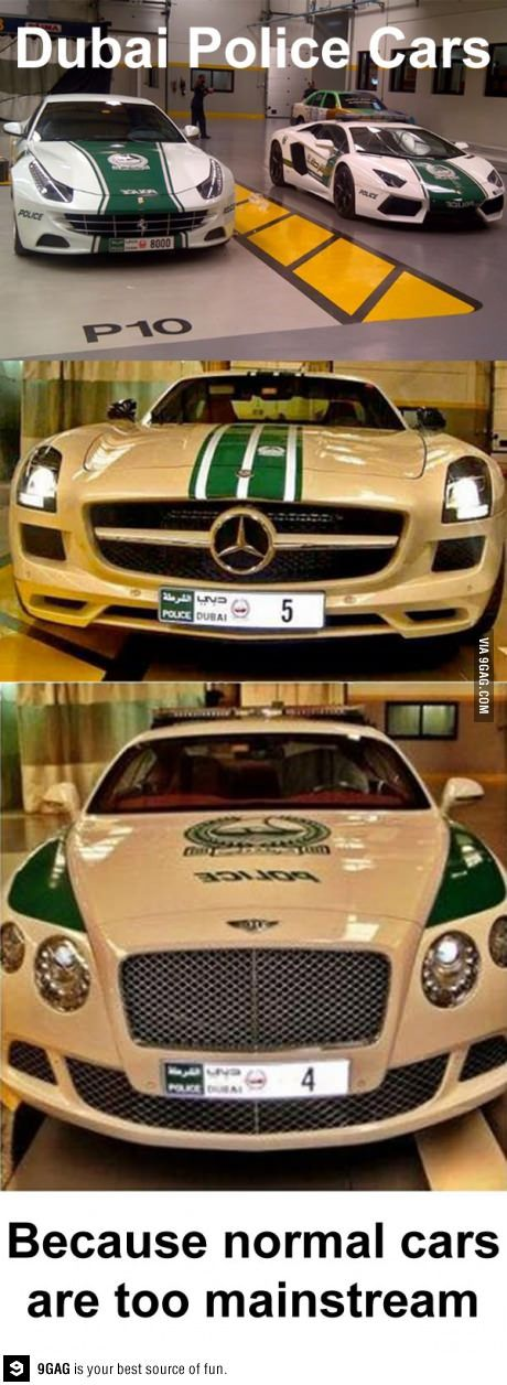 Dubai Police Cars.  If he wasn't such a partriot, we would TOTALLY be moving to Dubai JUST so he could become a P.O . and drive these!