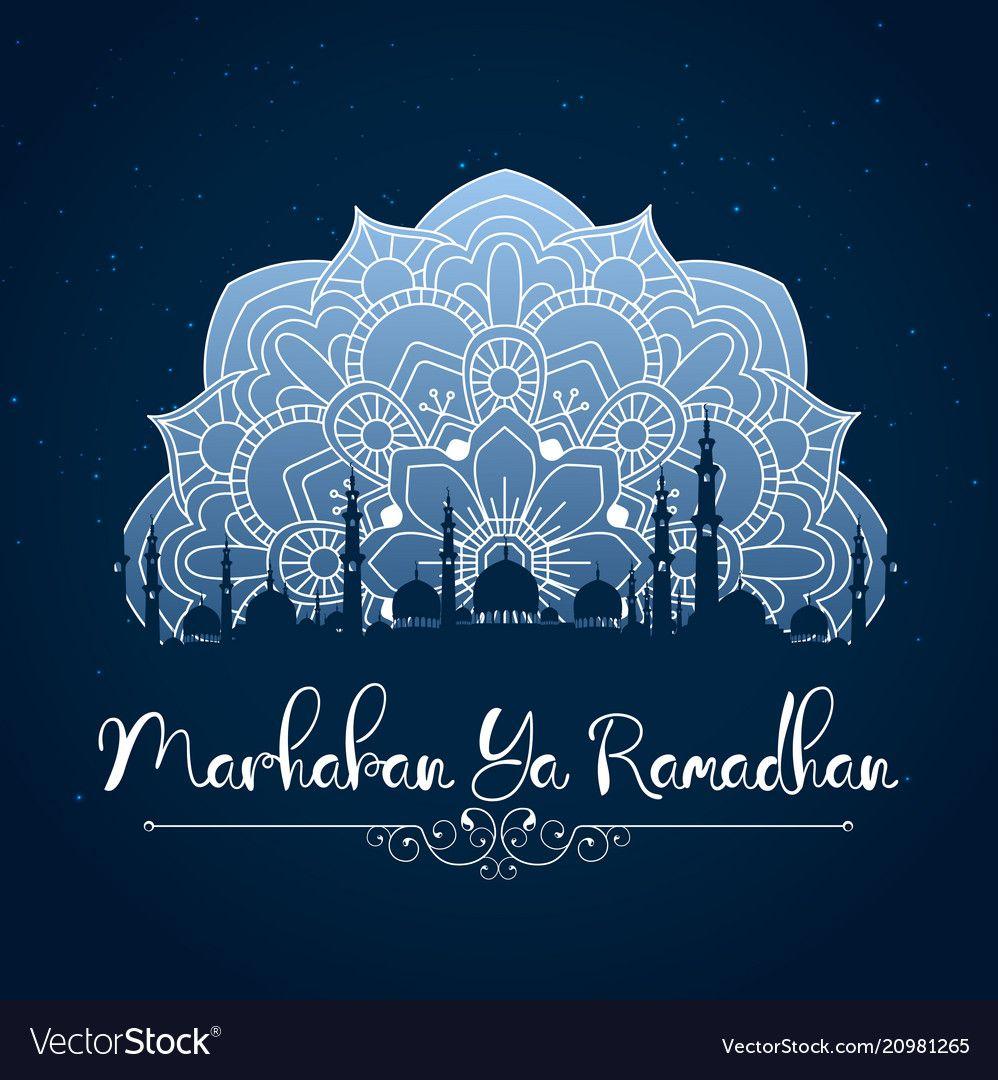 Marhaban ya ramadhan vector image on | Desain, Dekorasi