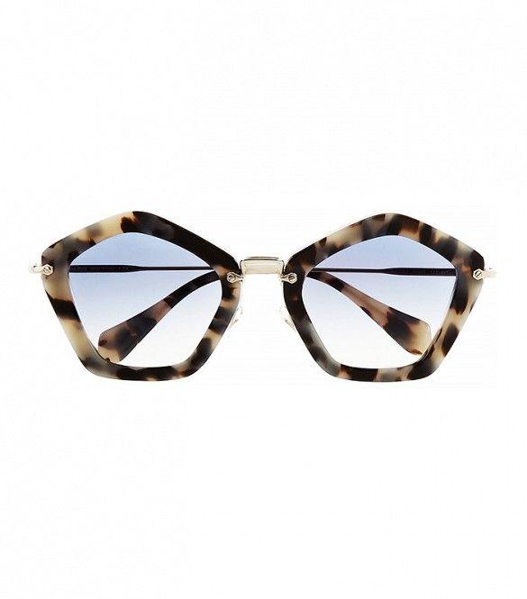 Miu Miu Pentagon-Frame Sunglasses in Tortoise