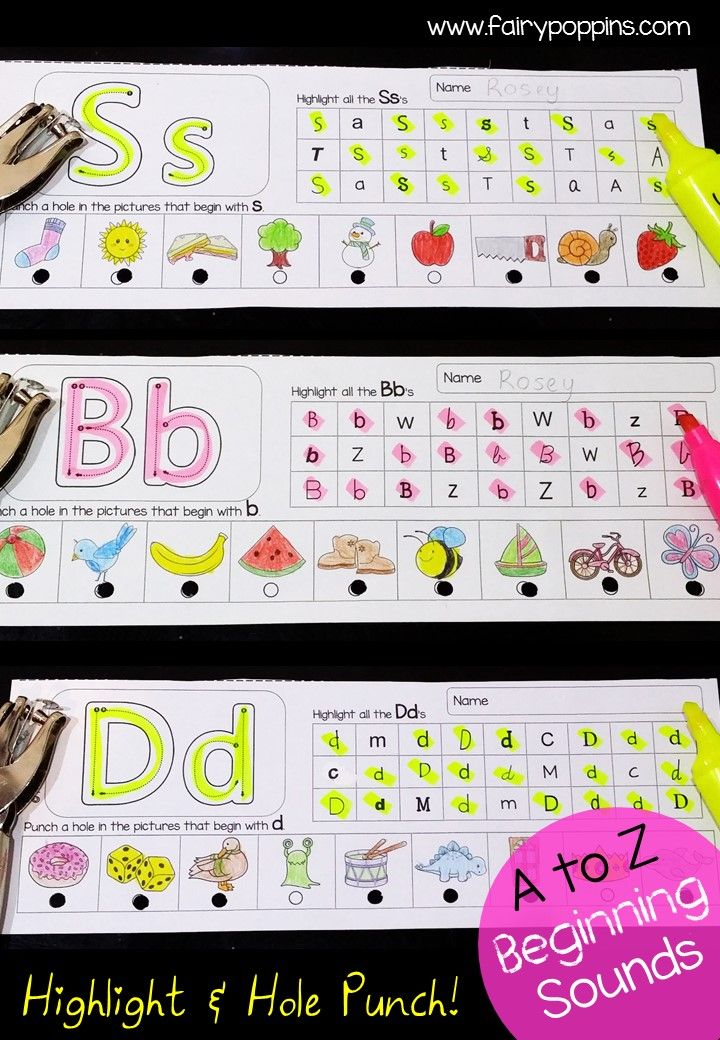 Beginning Sounds - Highlight & Hole Punch | Privat und Kind