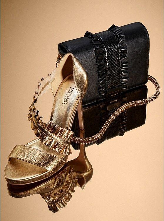 Bella Ruffled Metallic Leather Sandal
