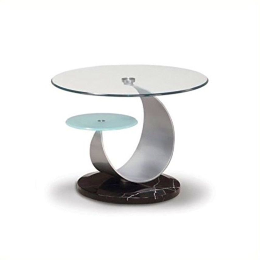 Global Furniture Clear Frosted Glass Black Occasional End Table With Silver Marb Global Furniture
