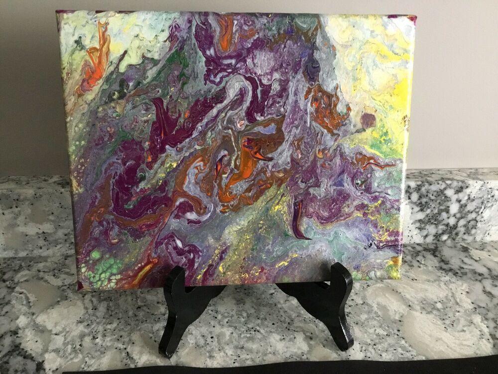 Modern Abstract Original Artwork Acrylic Pour on Canvas 8x10