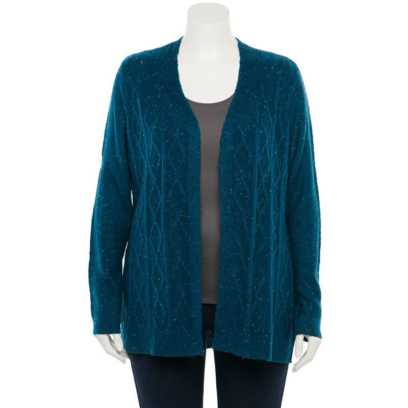 Plus Size Napa Valley Nep Cable-Knit Cardigan, Women's, Size: 2XL, Blue
